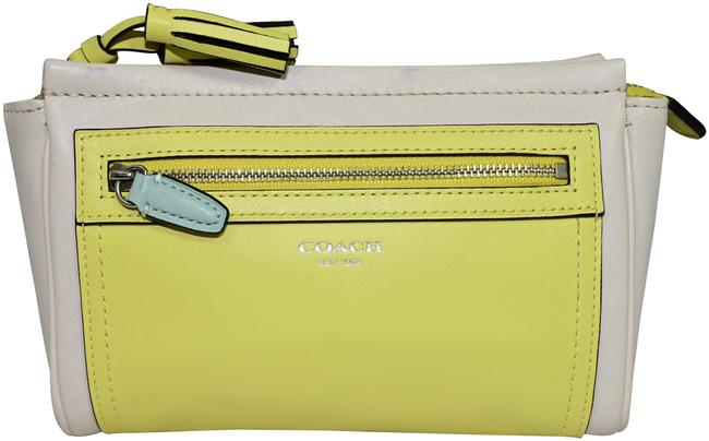 Item - Strap White Yellow Mint Leather Clutch