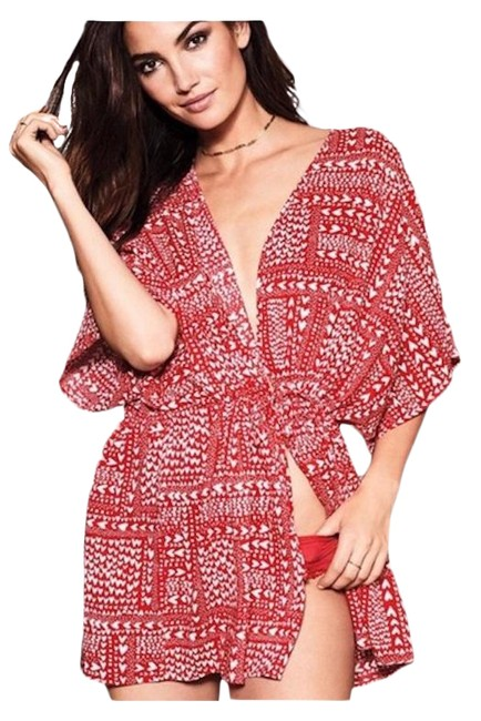 Item - Red / Robe with Hearts Cover-up/Sarong Size OS (one size)