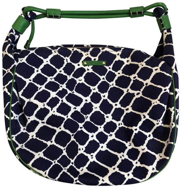 Item - Cape Cod Net Little Gabi Blue White and Green Canvas Hobo Bag