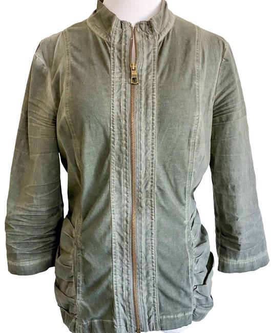 Item - Green 3/4 Length Mineral Wash Ruched Jacket Coat Size 8 (M)