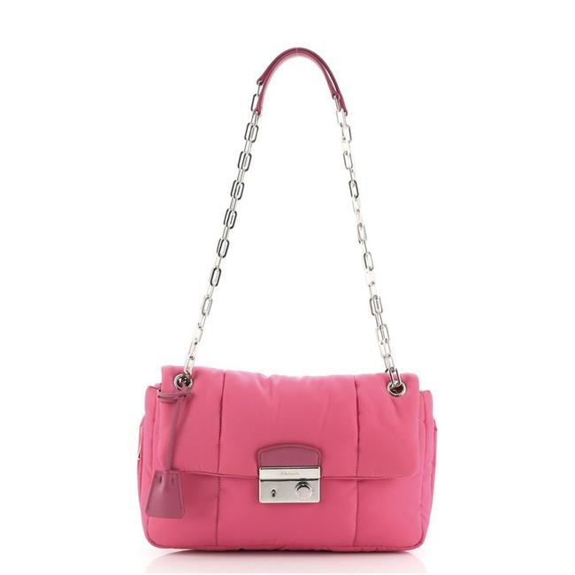 Item - Flap Bomber Chain Tessuto Medium Pink Nylon Cross Body Bag