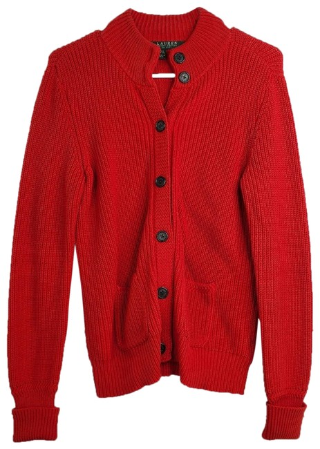 Item - Petite Button Front Long Sleeve Knit Red Sweater