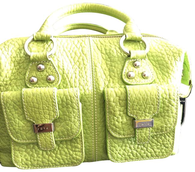 Item - Small Size Satchel 2 Handles Lime Green Leather with Silver Hardware Hobo Bag