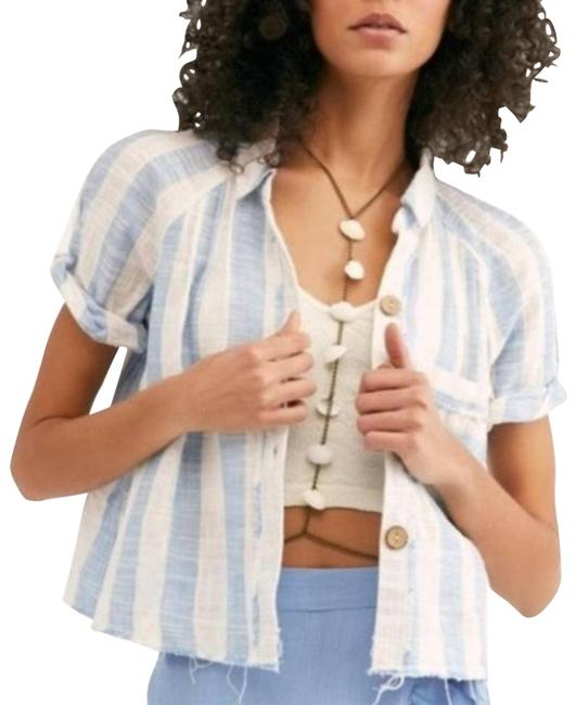 Item - White | Striped Away At Sea Button-down Top Size 4 (S)