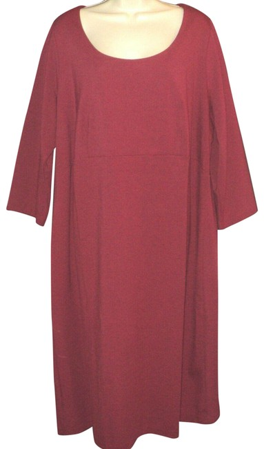 Item - Dark Red Mid-calf Length 3/4 Sleeves Knit Zippered Mid-length Work/Office Dress Size 22 (Plus 2x)