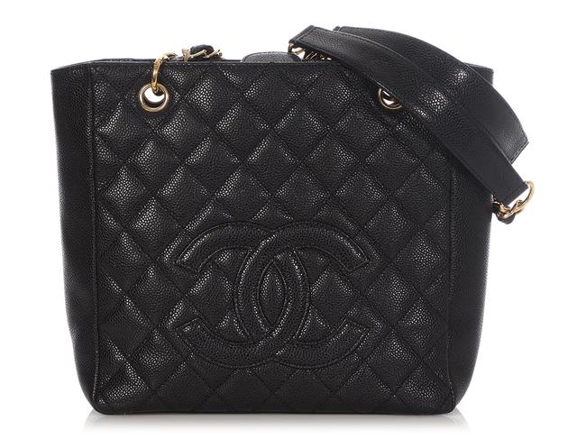 Item - Shopping Quilted Caviar Petite Pst Black Leather Tote