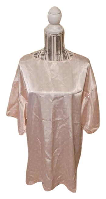 Item - Pink New Vintage Satin Oversized Nightshirt Rare Polka-dot Mid-length Night Out Dress Size 8 (M)