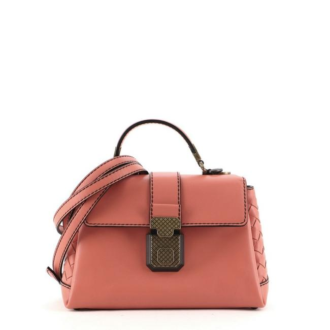 Item - Top Handle Piazza with Intrecciato Detail Mini Pink Leather Cross Body Bag