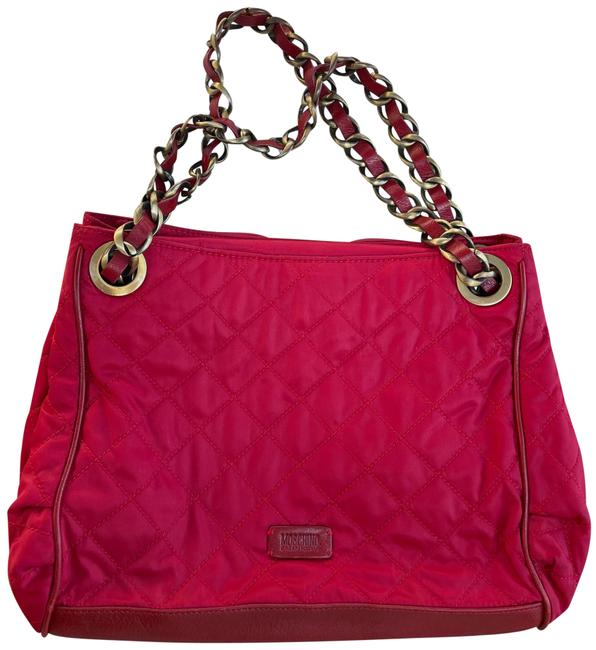 Item - Nylon Quilted Purse Red Satchel