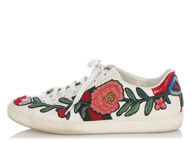 Item - White Embroidered Flower Ace Sneakers Size EU 39 (Approx. US 9) Regular (M, B)