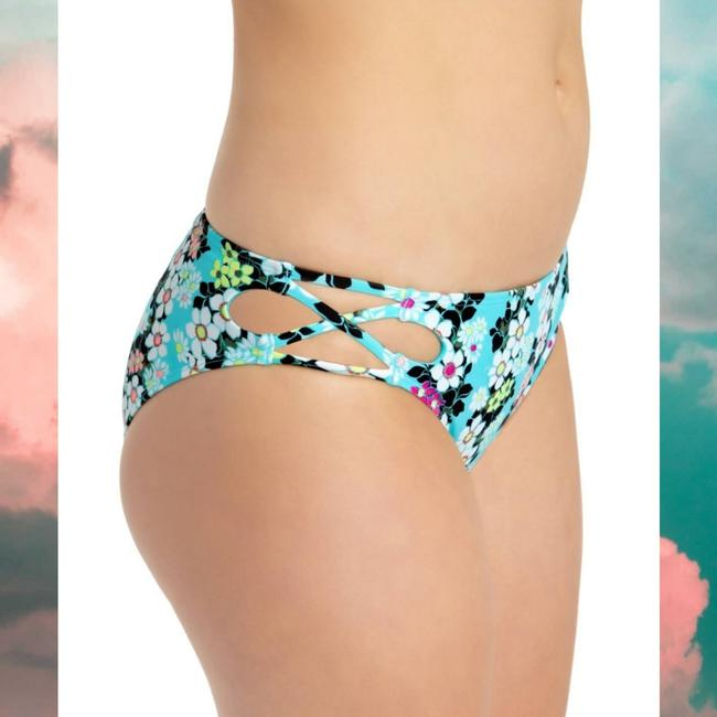 Item - Floral Island Blue Strappy Hipster Cut-out Sides Bikini Bottom Size 4 (S)