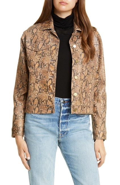 Item - Brown Python Le Vintage (Animal Print) Coated Jacket Size 10 (M)