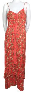 Red Orange Maxi Dress by Free People Greatescape Maxidress Slipdress Floral