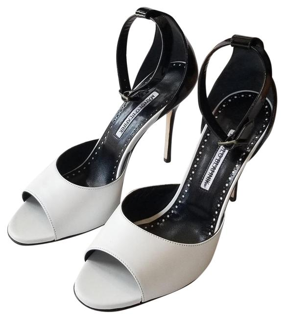 Item - Black/ White Adecua Front Patent Open Toe Pumps Size EU 39 (Approx. US 9) Regular (M, B)