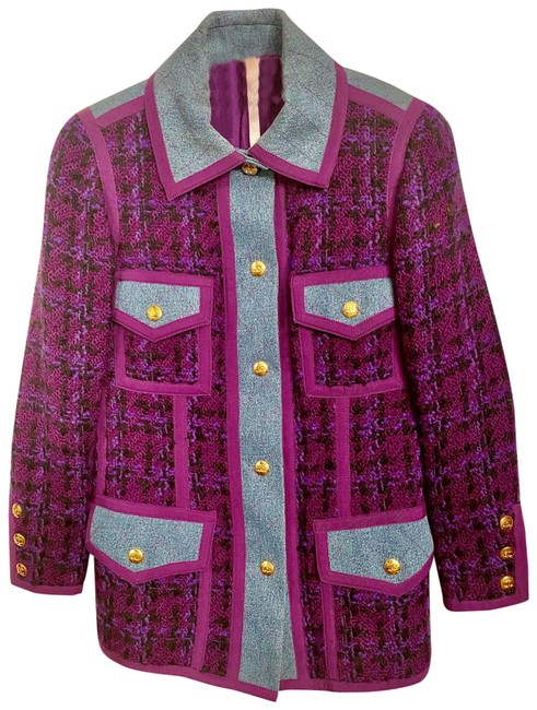Item - Purple Boucle and Denim Blazer Size 4 (S)