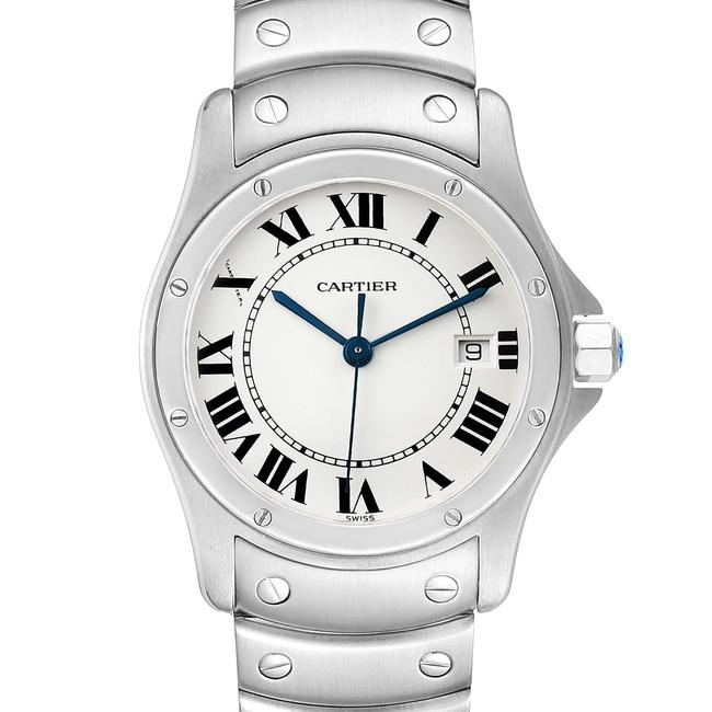 Cartier White Panthere Cougar 33mm Steel Mens W35002f5 Watch Cartier White Panthere Cougar 33mm Steel Mens W35002f5 Watch Image 1