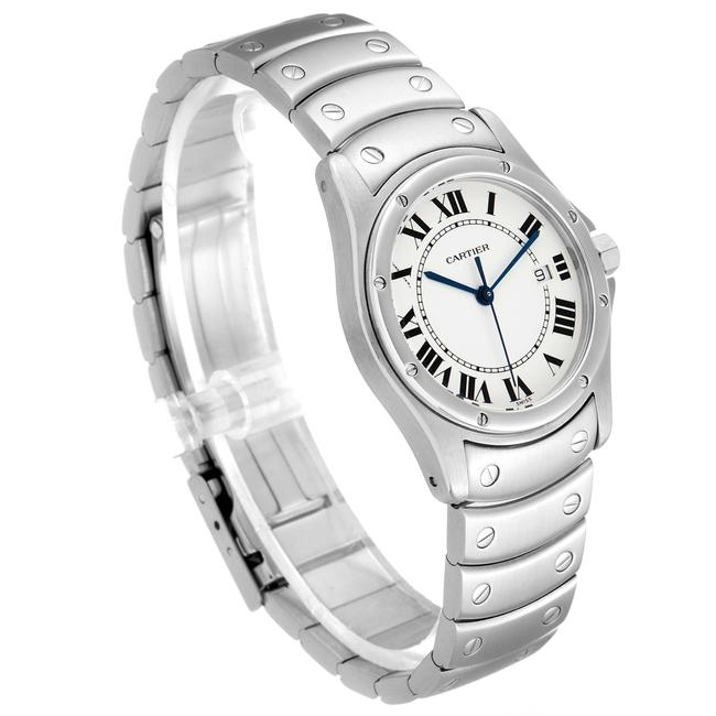 Cartier White Panthere Cougar 33mm Steel Mens W35002f5 Watch Cartier White Panthere Cougar 33mm Steel Mens W35002f5 Watch Image 3