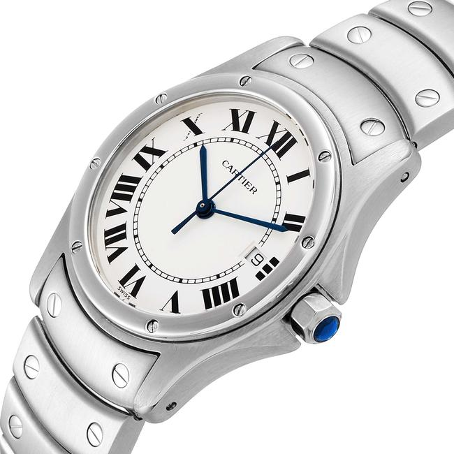 Cartier White Panthere Cougar 33mm Steel Mens W35002f5 Watch Cartier White Panthere Cougar 33mm Steel Mens W35002f5 Watch Image 5