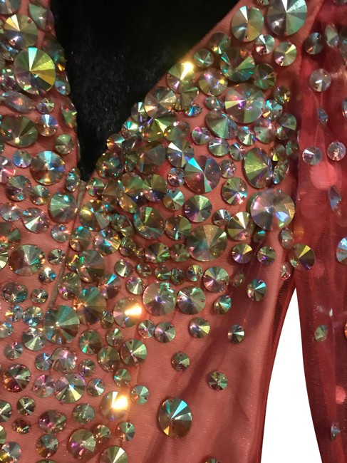 Item - Coral with Multi-colored Rhinestones 2946 Short Night Out Dress Size 6 (S)
