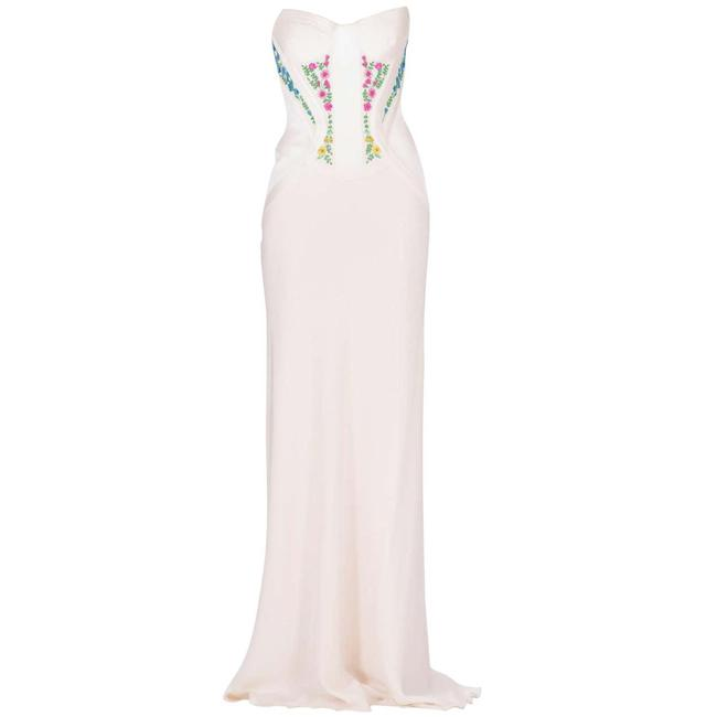 Item - White Revived From Gianni Archive Embroidered Corset Silk Long Night Out Dress Size 2 (XS)