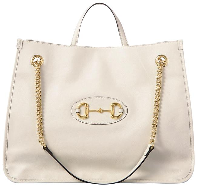 Item - Horsebit 1955 Large Textured-leather White Leather Tote