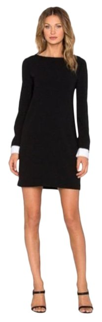 Item - Black White Amszia Mini Removable Buttoned Cuffs Short Work/Office Dress Size 4 (S)