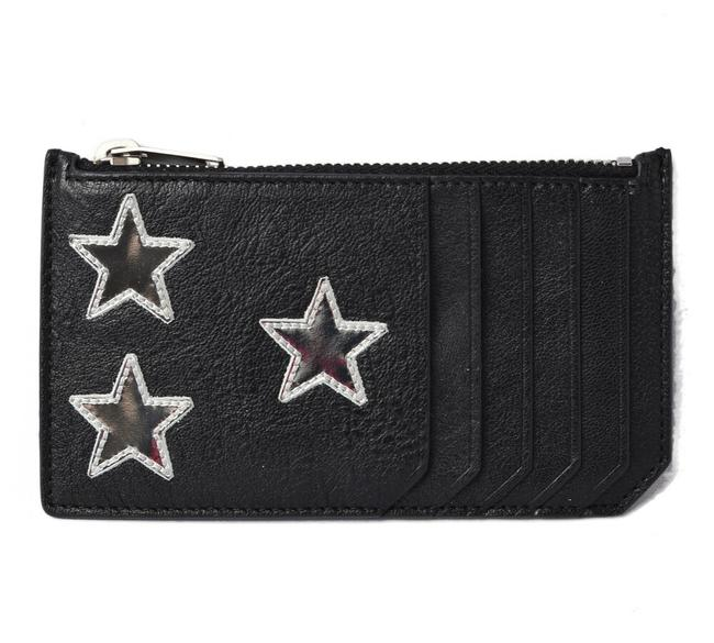 Item - Black Coin Case Card Ship Pouch Star Leather Silver Wallet