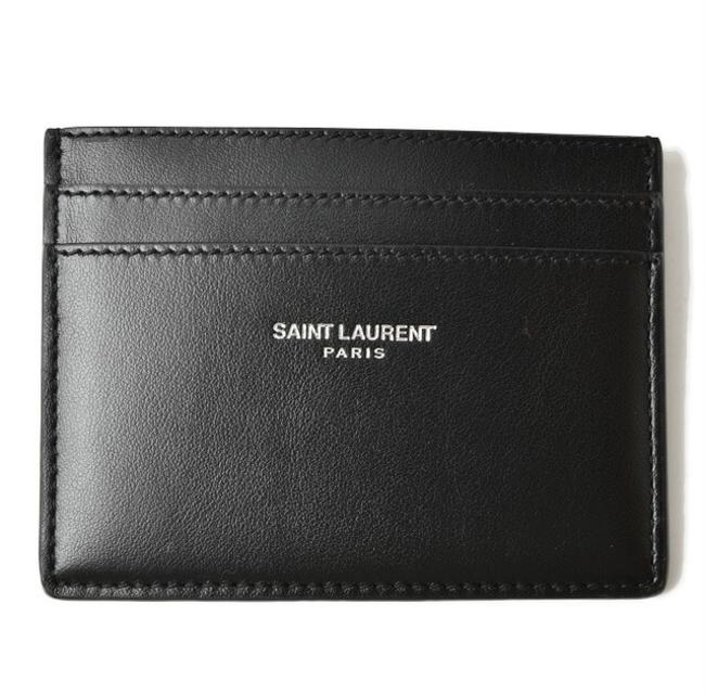 Item - Black / Red Color Card Case Business Holder Ysl Logo Studs Leather Wallet