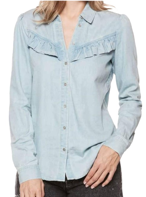 Item - Blue Layda Shirt Small Button-down Top Size 6 (S)