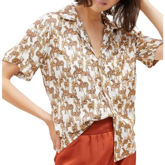 Item - Cream Tiny Zebra Print Shirt For Button-down Top Size 6 (S)