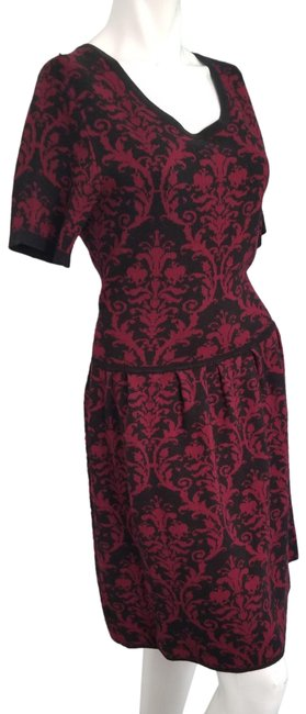 Item - Red L Paisley Mid-length Work/Office Dress Size 14 (L)