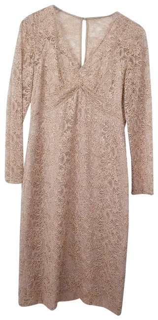 Item - Tan Beaded All Lace Sheath Mid-length Cocktail Dress Size 6 (S)