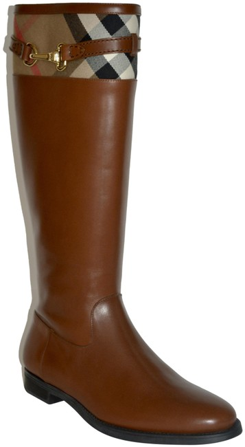Item - Dark Tan Dougal Riding House Check Leather Boots/Booties Size US 9 Regular (M, B)