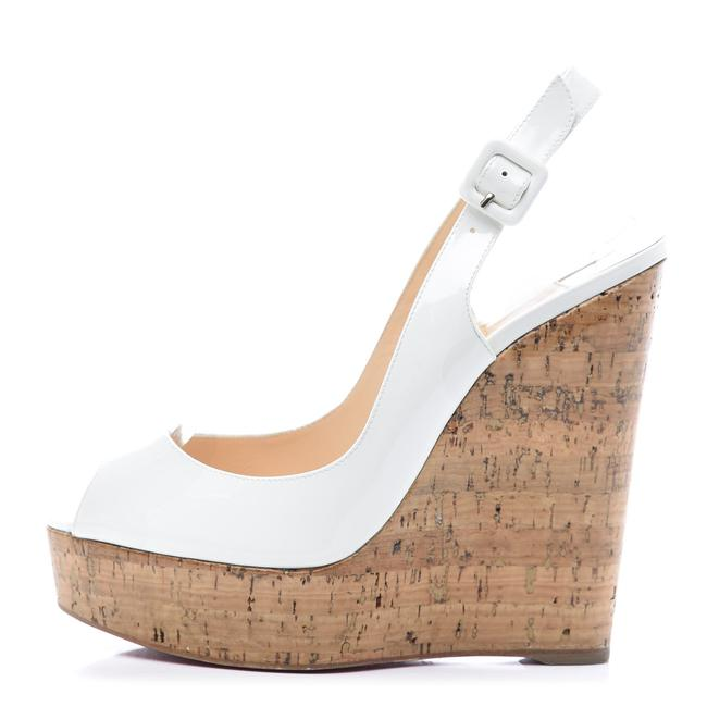Item - White Patent Leather Cork Zeppa Une Plume 140 Sling Back Wedges Size EU 39.5 (Approx. US 9.5) Narrow (Aa, N)