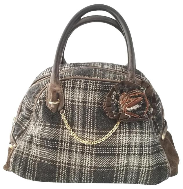 Item - Plaid Tweed Bowler Brown Cotton Blend Satchel