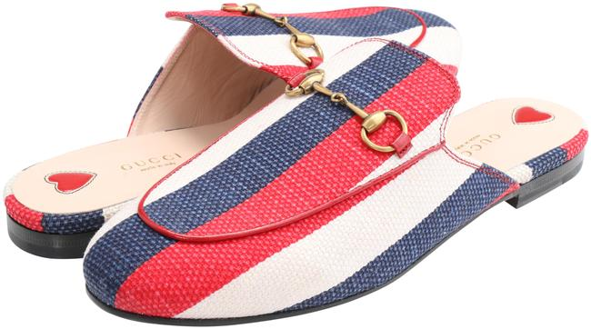 Item - Red/White/Blue Striped Canvas Princetown Mules/Slides Size EU 40 (Approx. US 10) Regular (M, B)