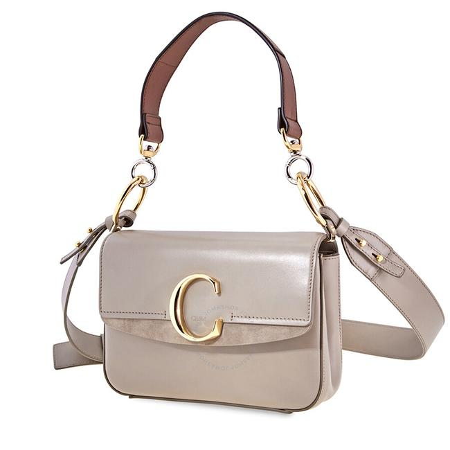 Item - Small C Double Carry Motty Grey Leather Shoulder Bag