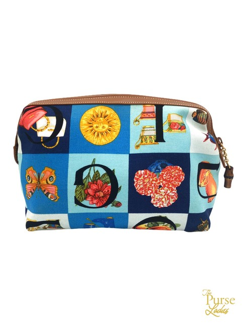 Item - Multicolor Pouch Scarf Print Canvas #33883 Cosmetic Bag
