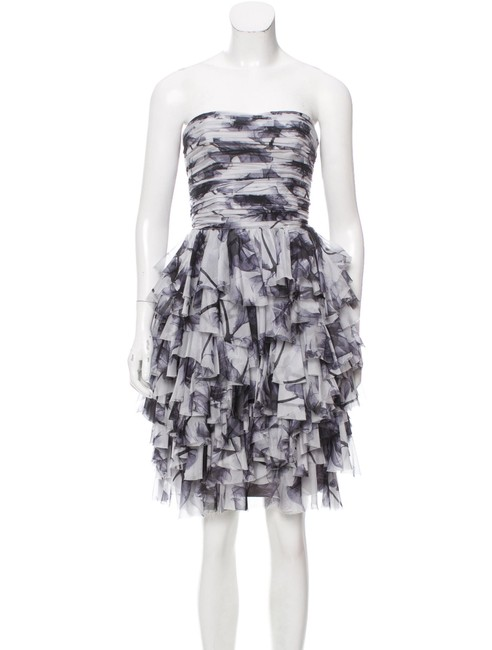 Item - Grey Silk Tiered Mid-length Cocktail Dress Size 8 (M)
