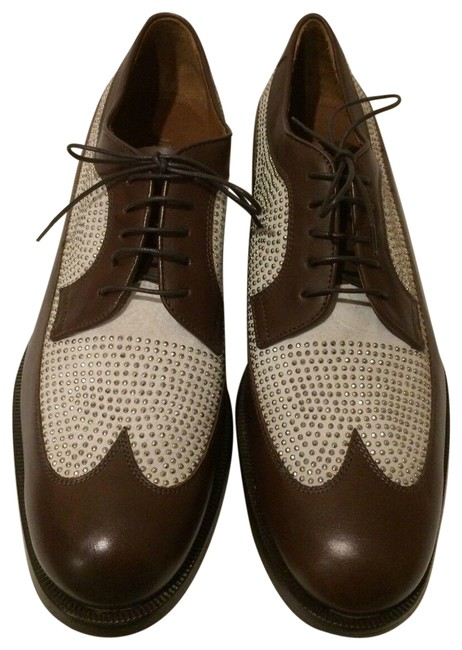 Item - Brown New Studded Leather Lace Up Oxford (Men's 43eu/10us) Formal Shoes Size EU 43 (Approx. US 13) Regular (M, B)