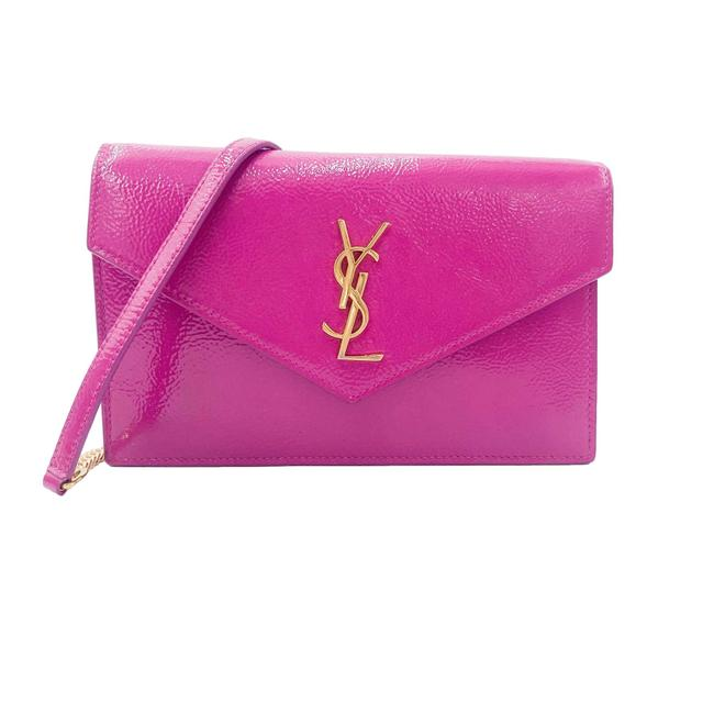 Item - Monogram Envelope Chain Wallet Textured Electric Pink Patent Leather Cross Body Bag