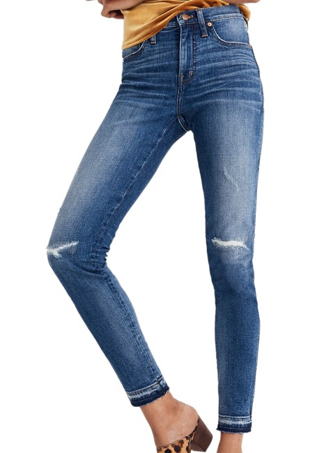 """Item - Indigo Distressed 9"""" High Rise Rip & Repaired Edition Skinny Jeans Size 32 (8, M)"""