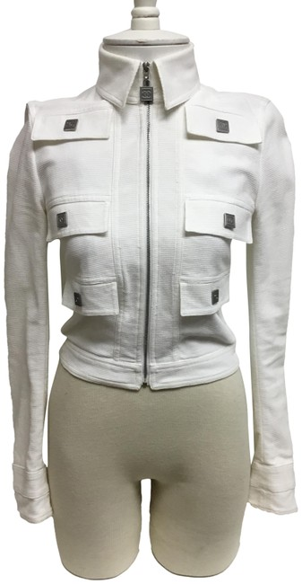 Item - White Waffle Zip Front with Brushed Silver Snaps Jacket Size 2 (XS)