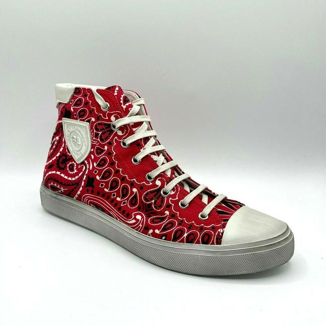 Item - Red/White Men Red/White Dirty Washed Hi-top Sneaker 41.5/Us 8.5 553582 6576 Shoes
