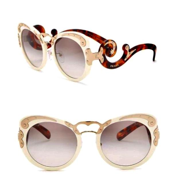 Item - White Gold Tortoise Minimal Baroque Sunglasses