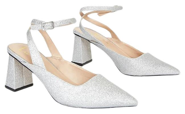 Item - Silver Annais Glitter Pointed-toe Ankle Strap Pumps Size US 8.5 Regular (M, B)
