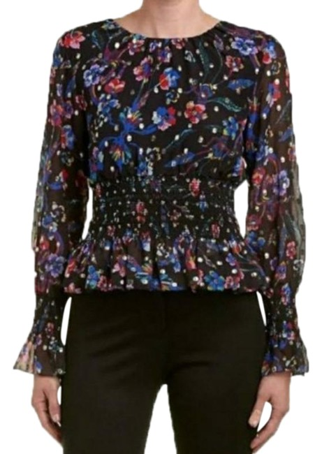 Item - Black Floral Silk Shirred Small Blouse Size 4 (S)