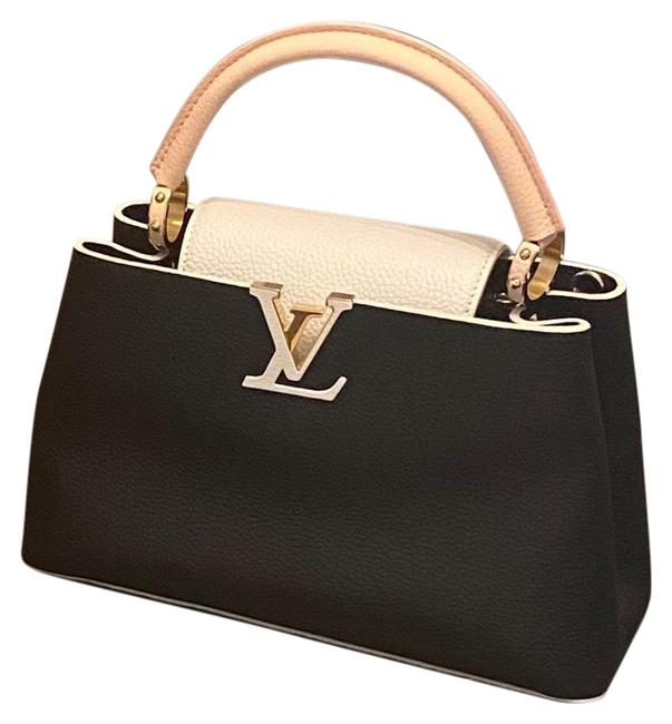 Item - Capucines Pm Taurillon Black Beige Pink and Hints Of Gold Cowhide Leather Calf Leather Baguette