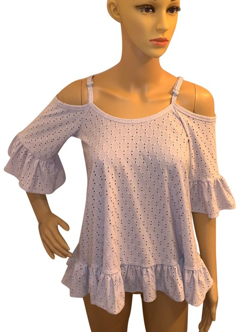 Item - Lavender Cold Shoulder Ruffled Square Neckline Tunic Size 0 (XS)