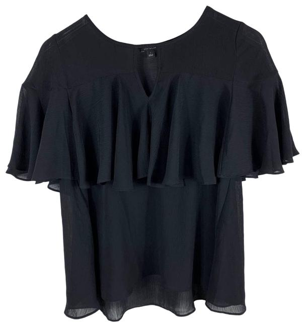 Item - Black Sheer Flounce Small Blouse Size 4 (S)